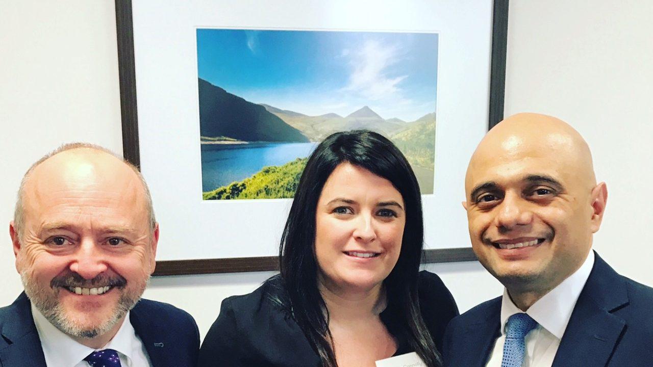 Sajid Javid, Home Secretary pictured with Belfast Chamber