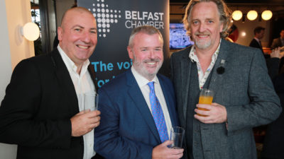 Paul McMahon, Christopher McCausland and Michael Stewart picture at Belfast Chamber AGM