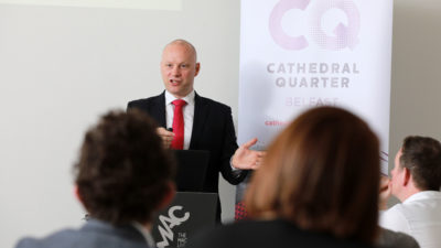 Richard Ramsey, Ulster Bank speaking at Belfast Chamber Business Series event