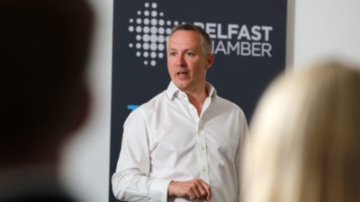 Richard McMullan speaking at Belfast Chamber Business Series event