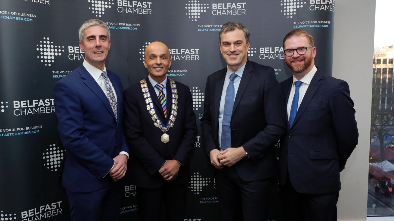 Rajesh Rana, President of Belfast Chamber, Simon Hamilton, CEO of Belfast Chamber and Peter Legge, Partner, Grant Thornton are pictured with Julian Smith, MP, Secretary of State for Northern Ireland