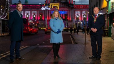 The leaders of three key city centre stakeholders have issued a joint welcome back message to returning visitors ahead of the reopening of retail and most hospitality venues on Friday but have urged shoppers to prioritise safety at all times. Kathleen McBride, Managing Director of Belfast One, the Belfast City Centre Business Improvement District (BID), which has invested almost £4million in projects to enhance, support and promote the city centre over the last five years, joined the Chief Executive of Belfast Chamber Simon Hamilton (left) and Lord Mayor of Belfast City Council Alderman Frank McCoubrey to encourage people to take sensible precautions to protect themselves, other visitors and shop and hospitality staff.